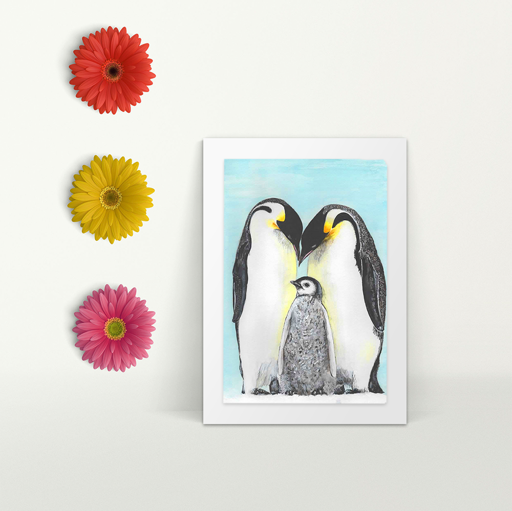 Emperor Penguin adults with baby - A4 Print - Mounted