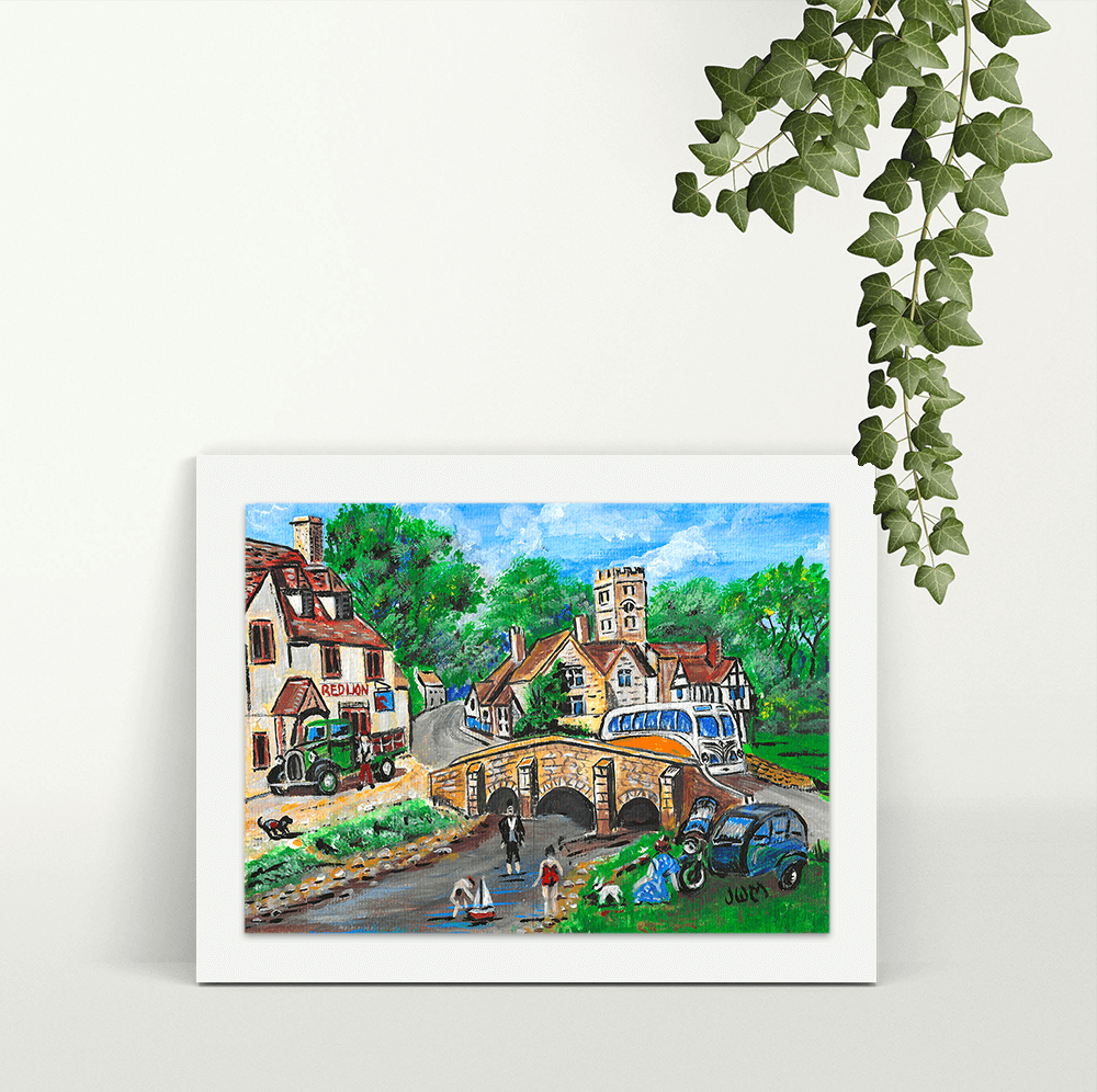 Camper on the Bridge - A4 Print - Mounted