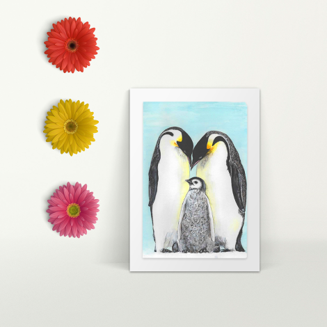 Emperor Penguin adults with baby