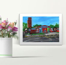 Fire Station - A4 Print - Mounted