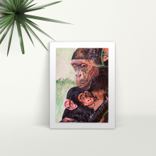 Monkey and Baby - A4 Print - Mounted