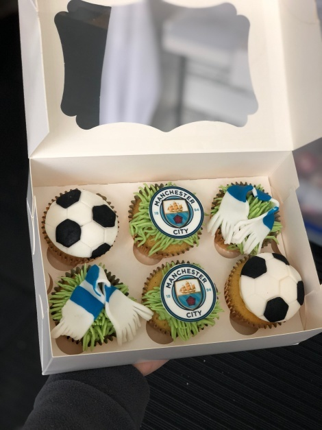 Fathers Day football themed cupcakes