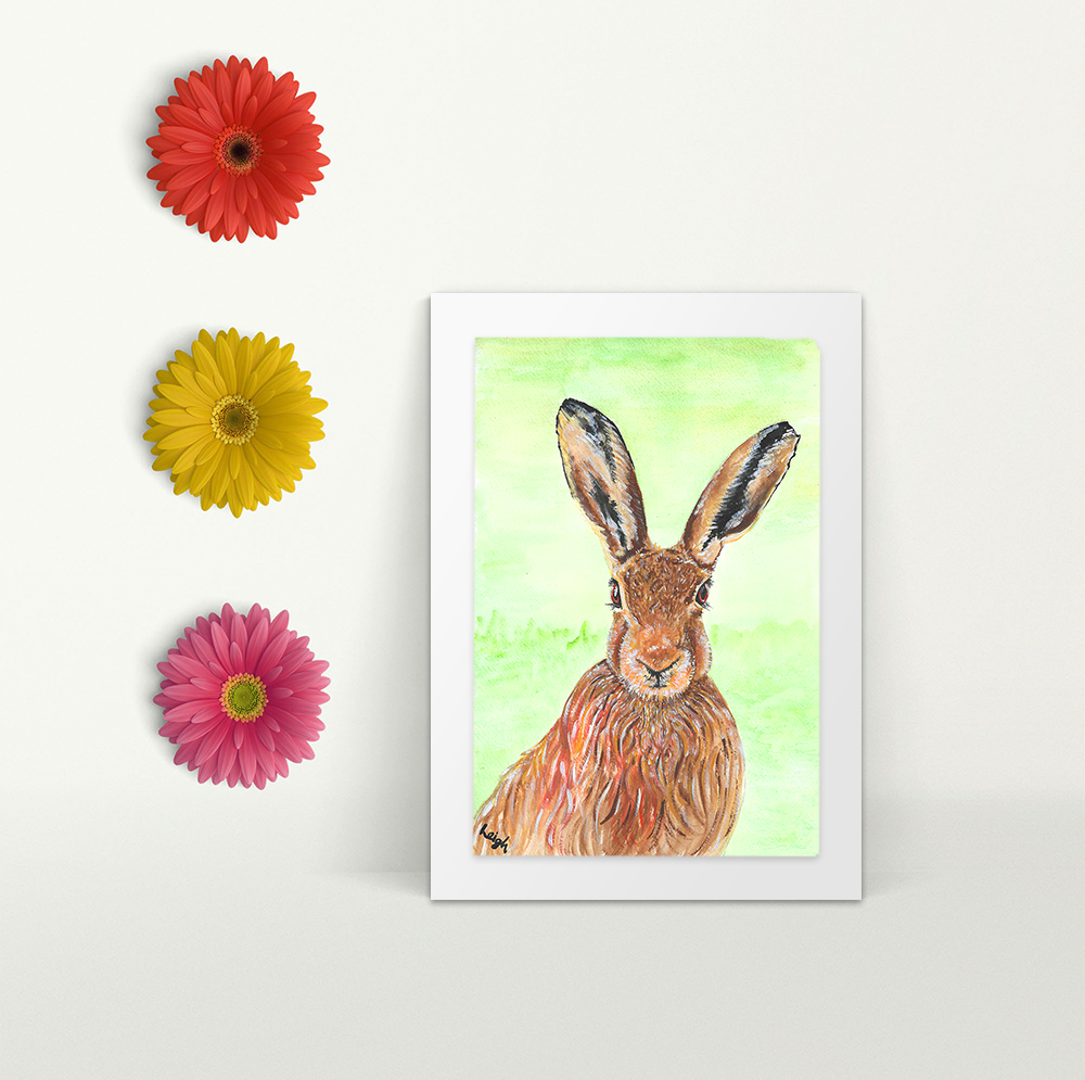 Hare - A4 Print - Mounted