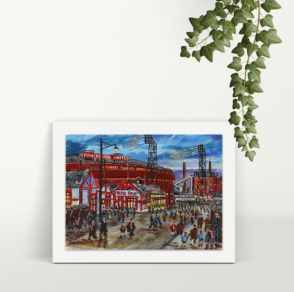 Old Trafford Match Day (Days Gone by) - A4 Print - Mounted