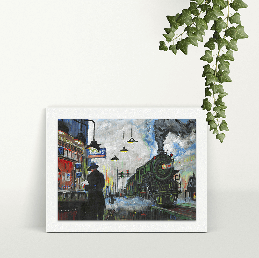 Night Loco in the Station - A4 Print - Mounted