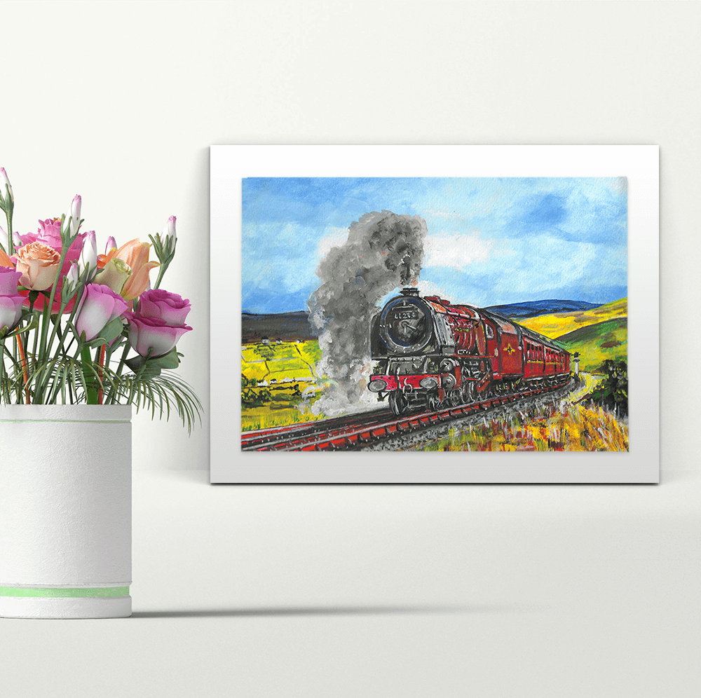 Train in the Countryside - A4 Print - Mounted
