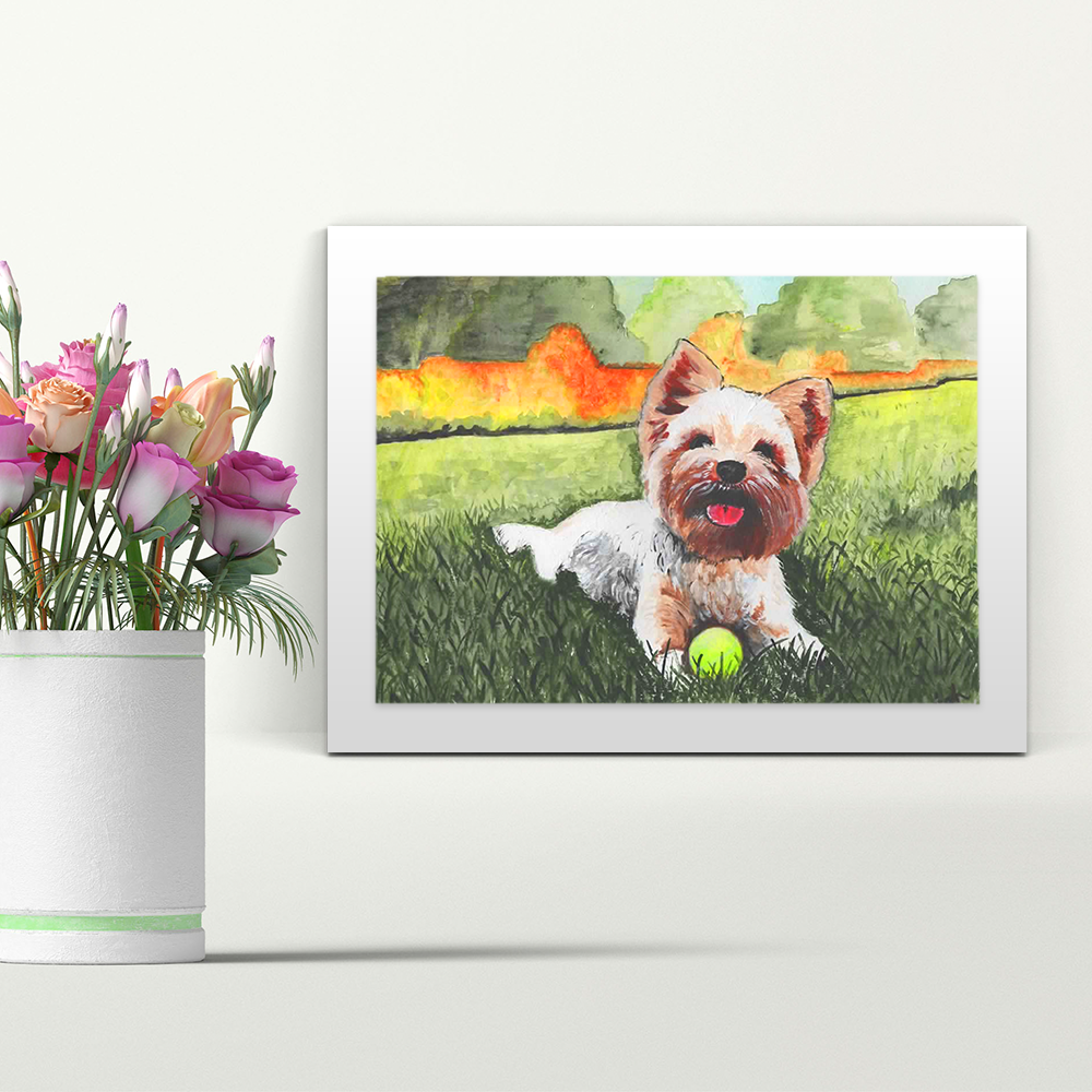 Dog with Ball - A4 Print - Mounted