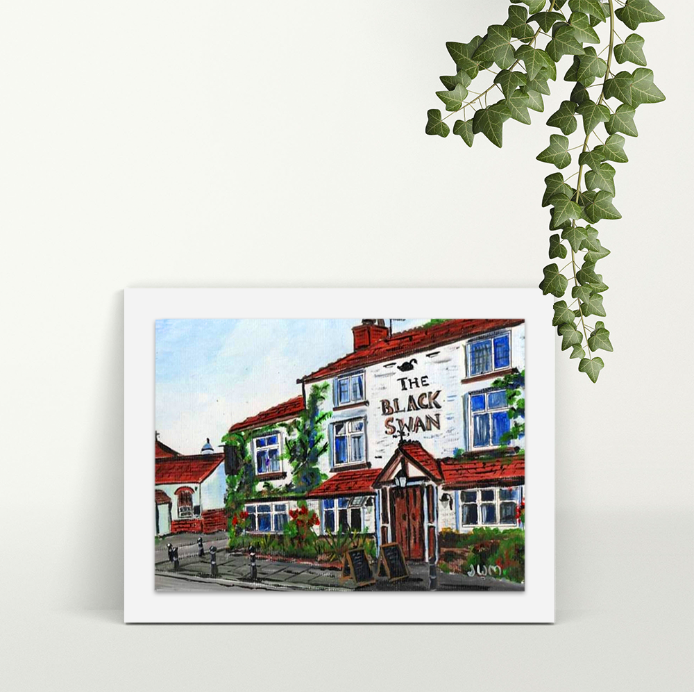 The Black Swan Hollins Green - A4 Print - Mounted